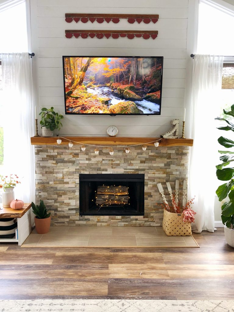 Stacked stone fireplace live edge fall home tour fixer upper inspired modern farmhouse