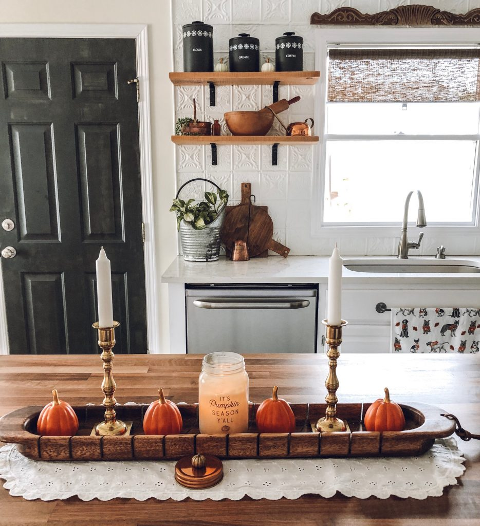 bread board decor fall pumpkins candles vintage