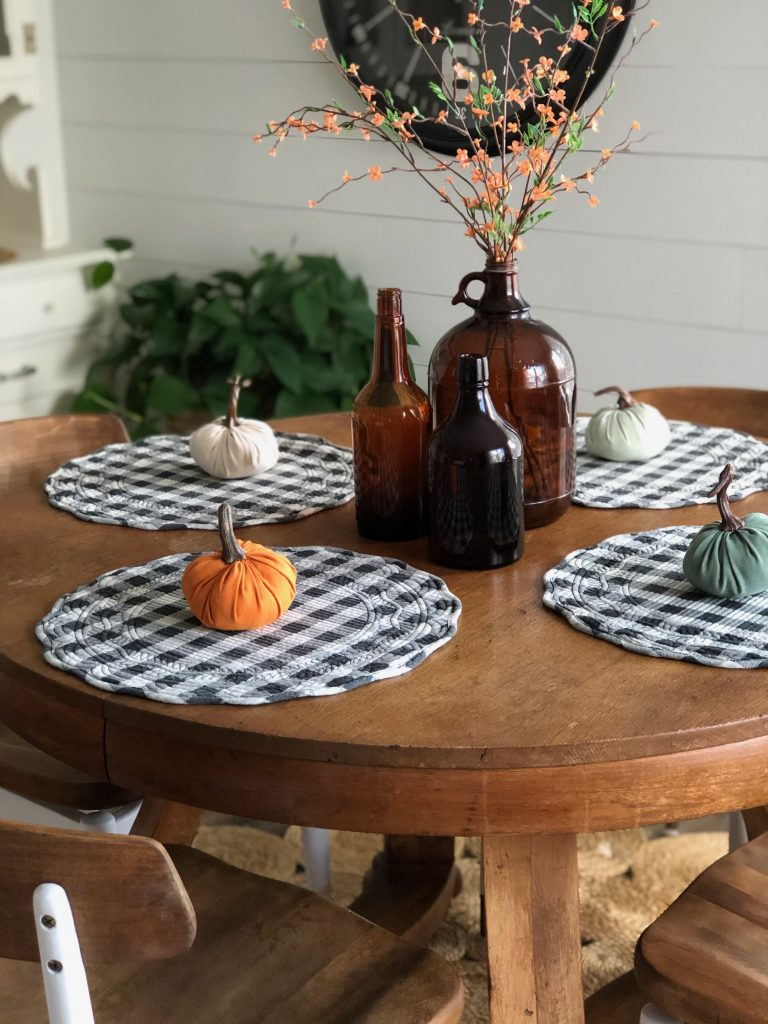 fall home tour decor buffalo check mini pumpkins