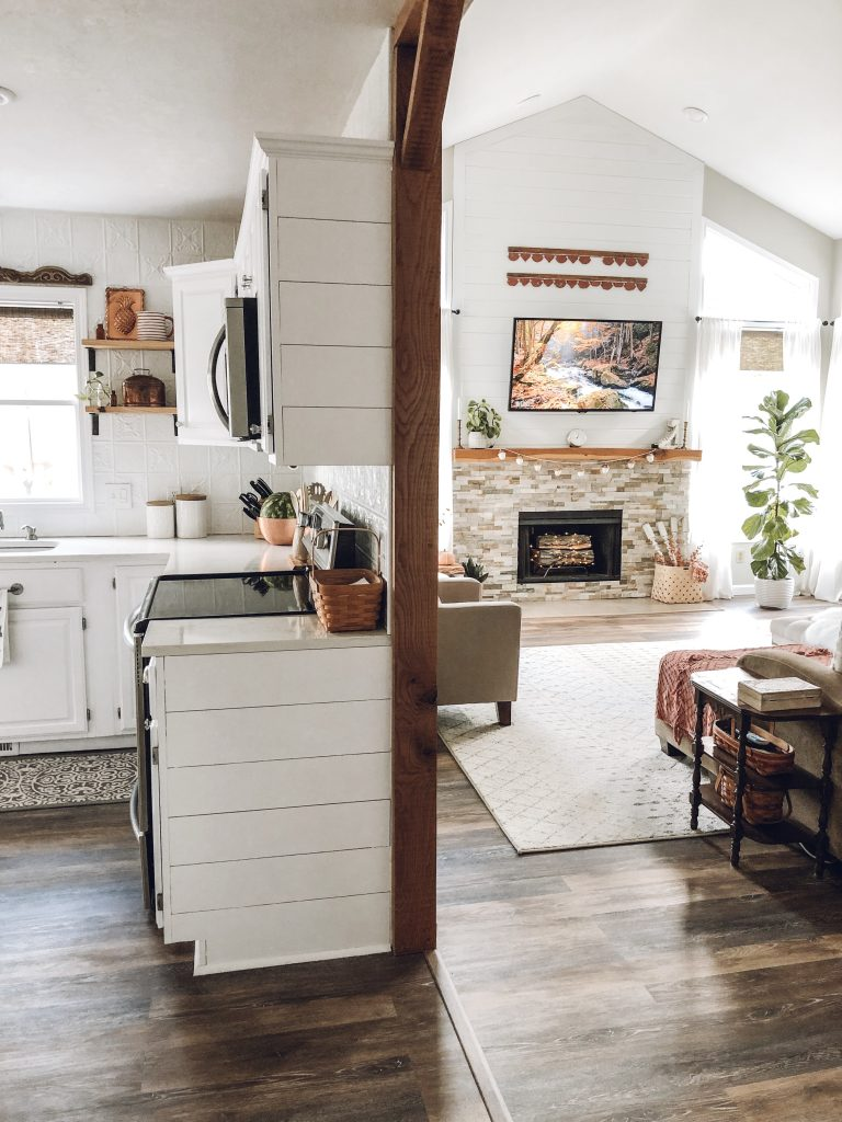 Fall home tour rustic living room kitchen open concept