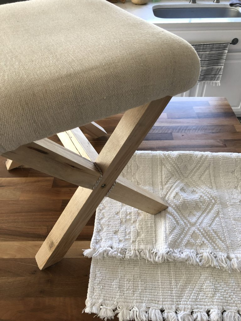 recover stool with old rug boho stool