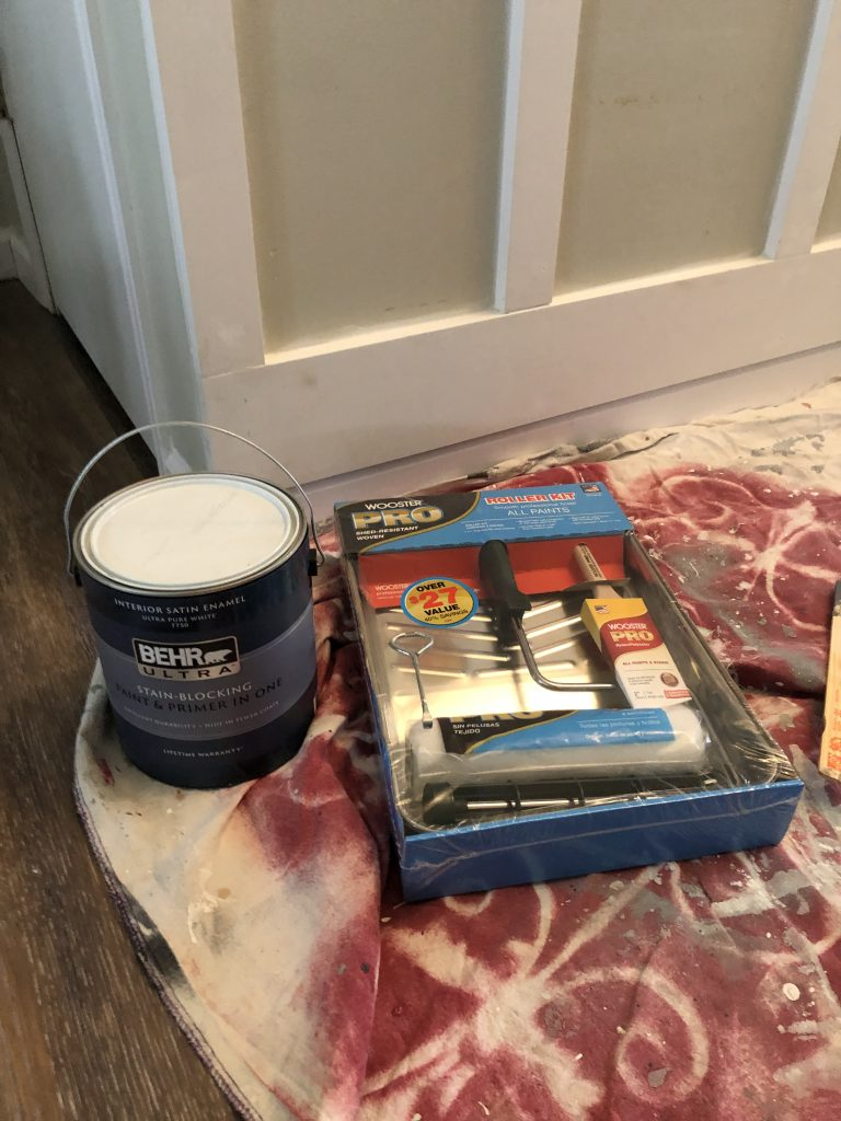 Behr Express paint Polar Bear white board and batten