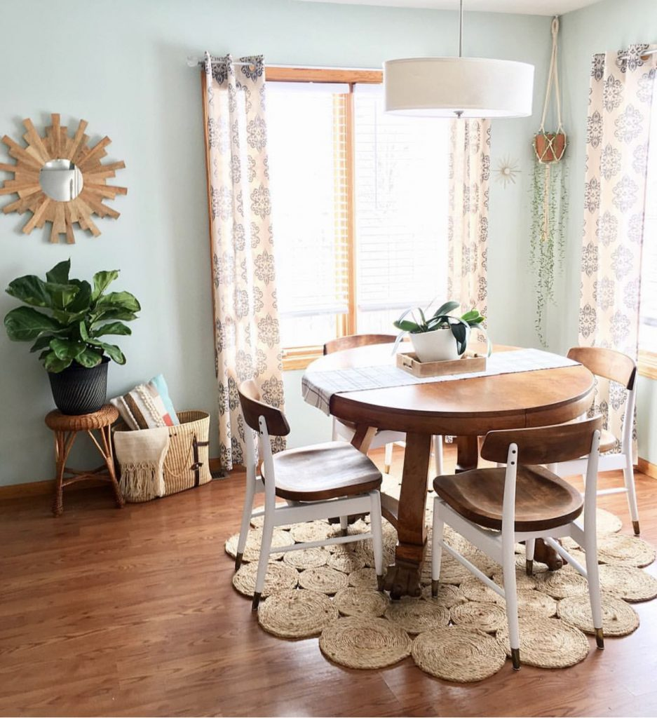 Simple boho dining room.  Palladian blue. Antique table. Midcentury chairs.