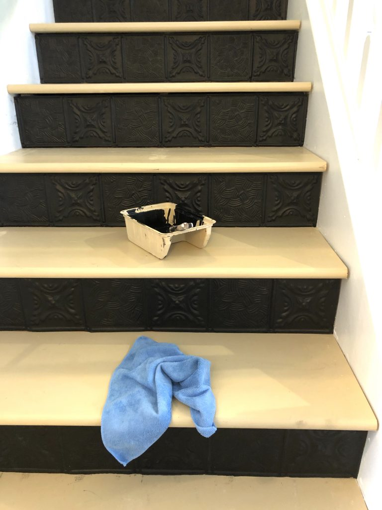 black stair risers antique tin tile