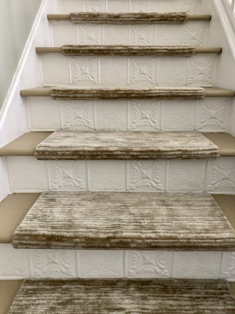 carpeted stair treads neutral carpet runner